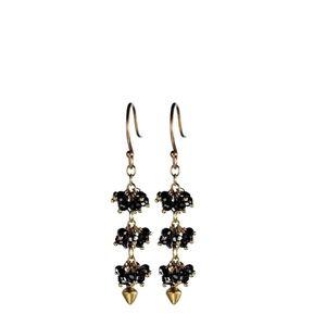 Me & Ro 18k Beaded Black Diamond Cluster Earrings
